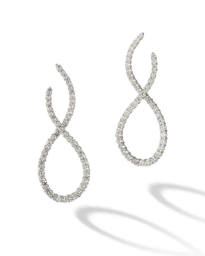 Twisted diamond earrings by Jack Kelege