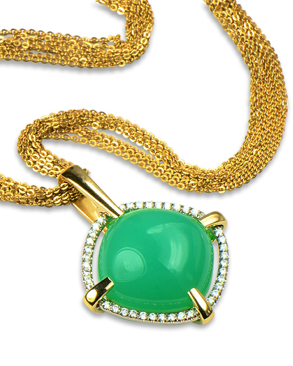 Chrysoprase and diamond necklace