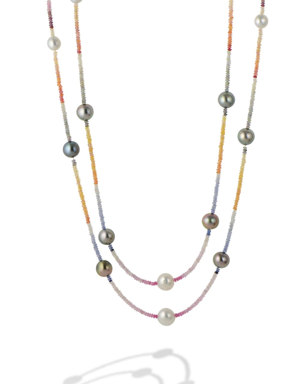 Pearls and multi color sapphire necklace