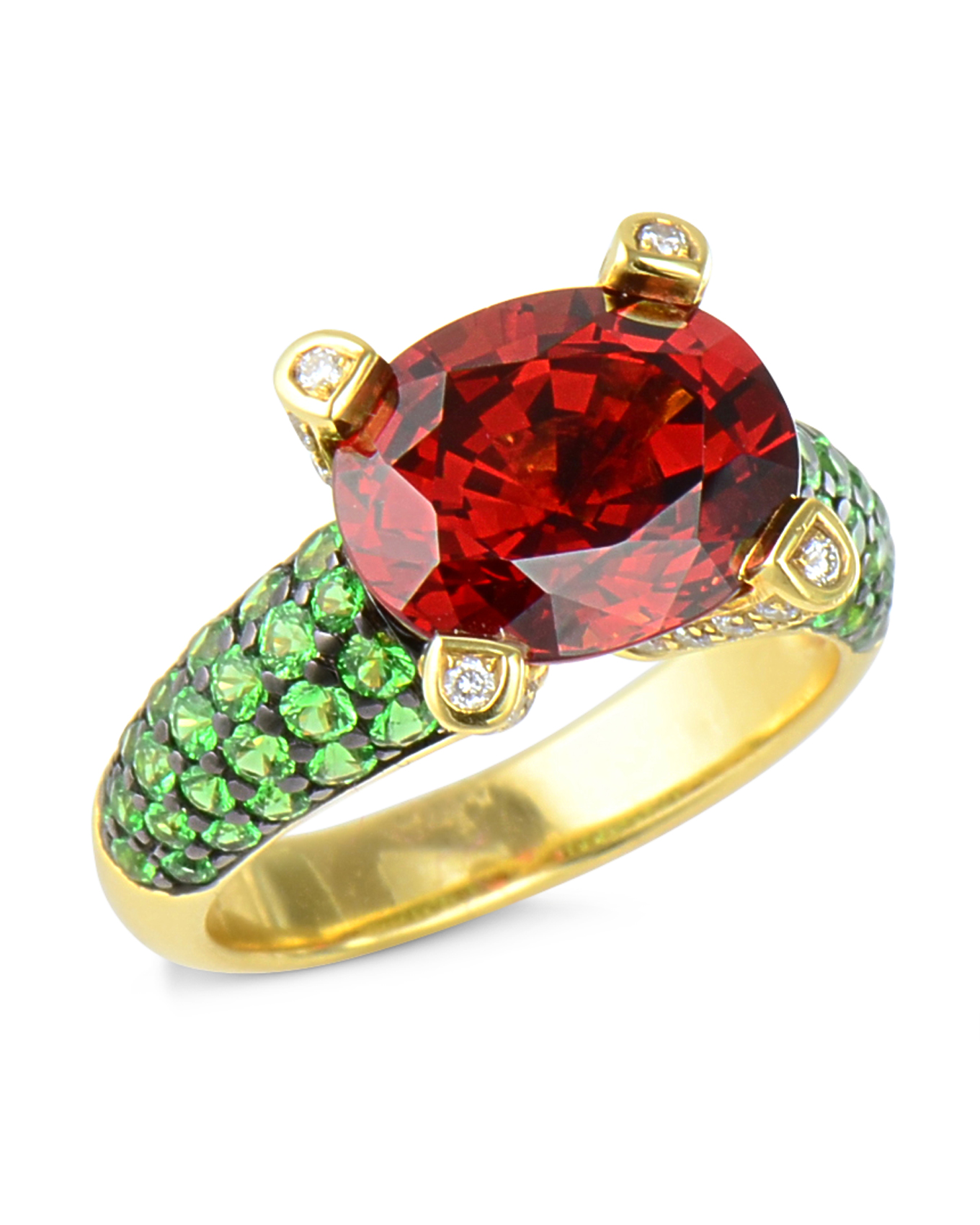 garnet ring rings big project jewelers front summit green and tsavorite diamond