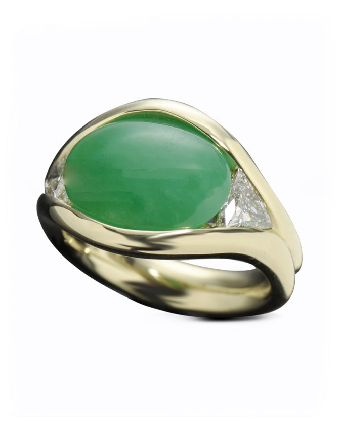 Rare Imperial Jade and Diamond Ring