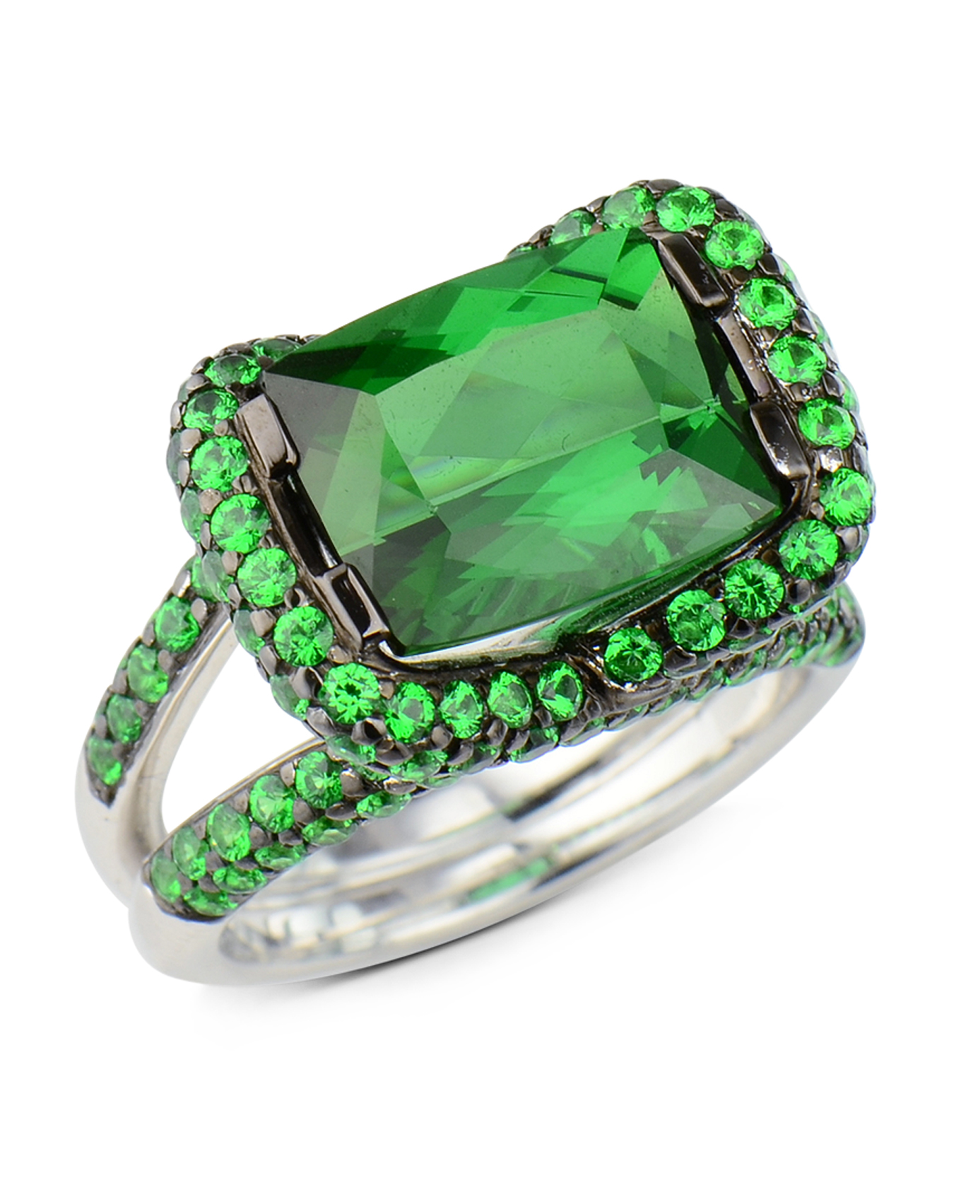 diamond rings front ring project garnet and tsavorite green big summit jewelers