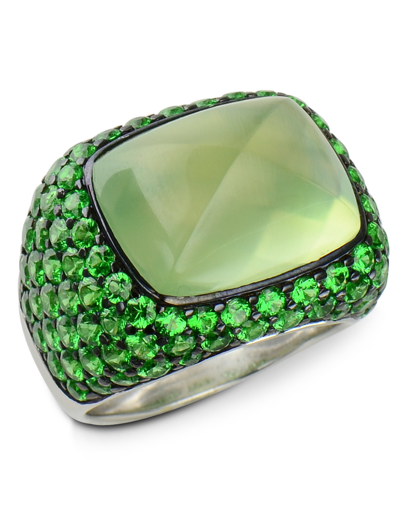 garnet trilliants watch tsavorite by youtube ring tanzanite accented rings