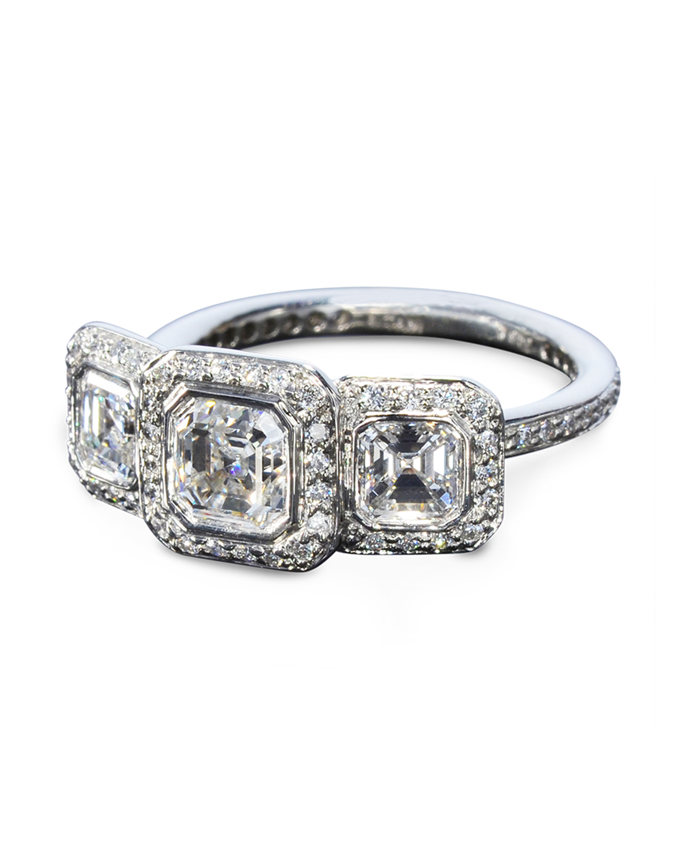 watch ct split engagement in cut asscher band diamond youtube ring rings