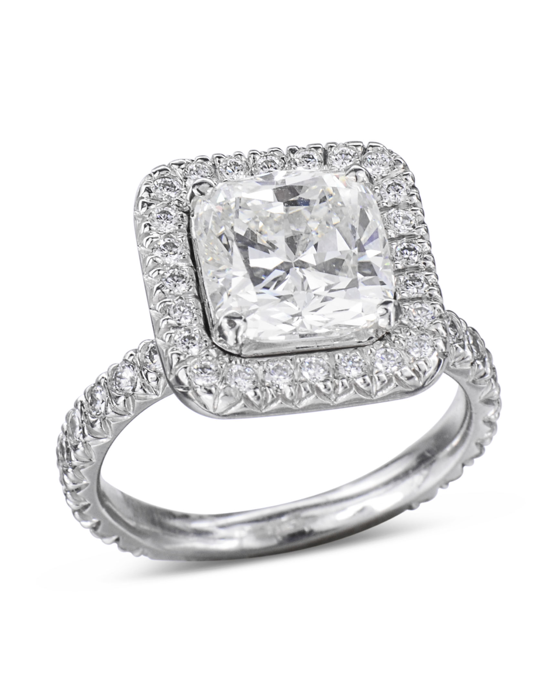 White Gold Cushion Cut Diamond Halo Engagement Ring