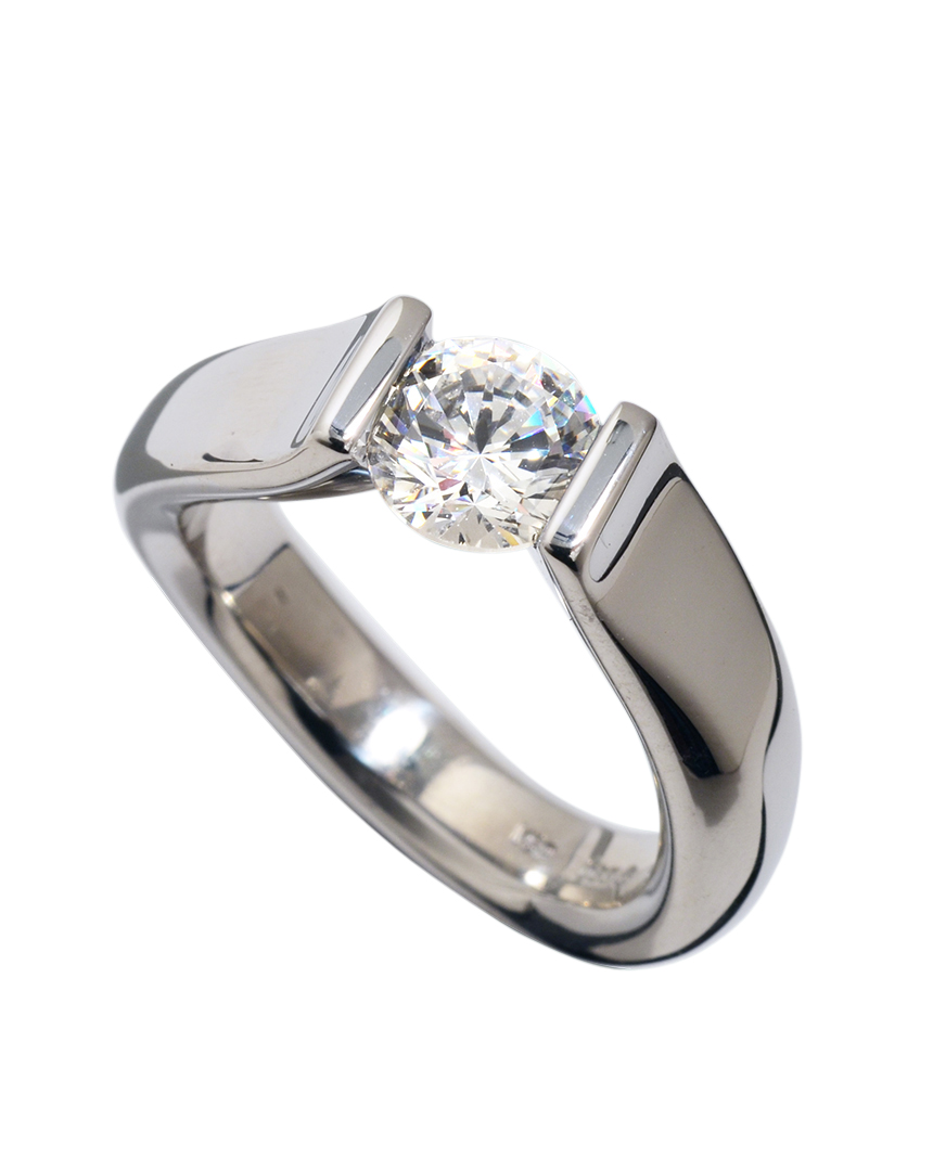 Steven Kretchmer Tension Set Diamond Ring And Matching Wedding Band
