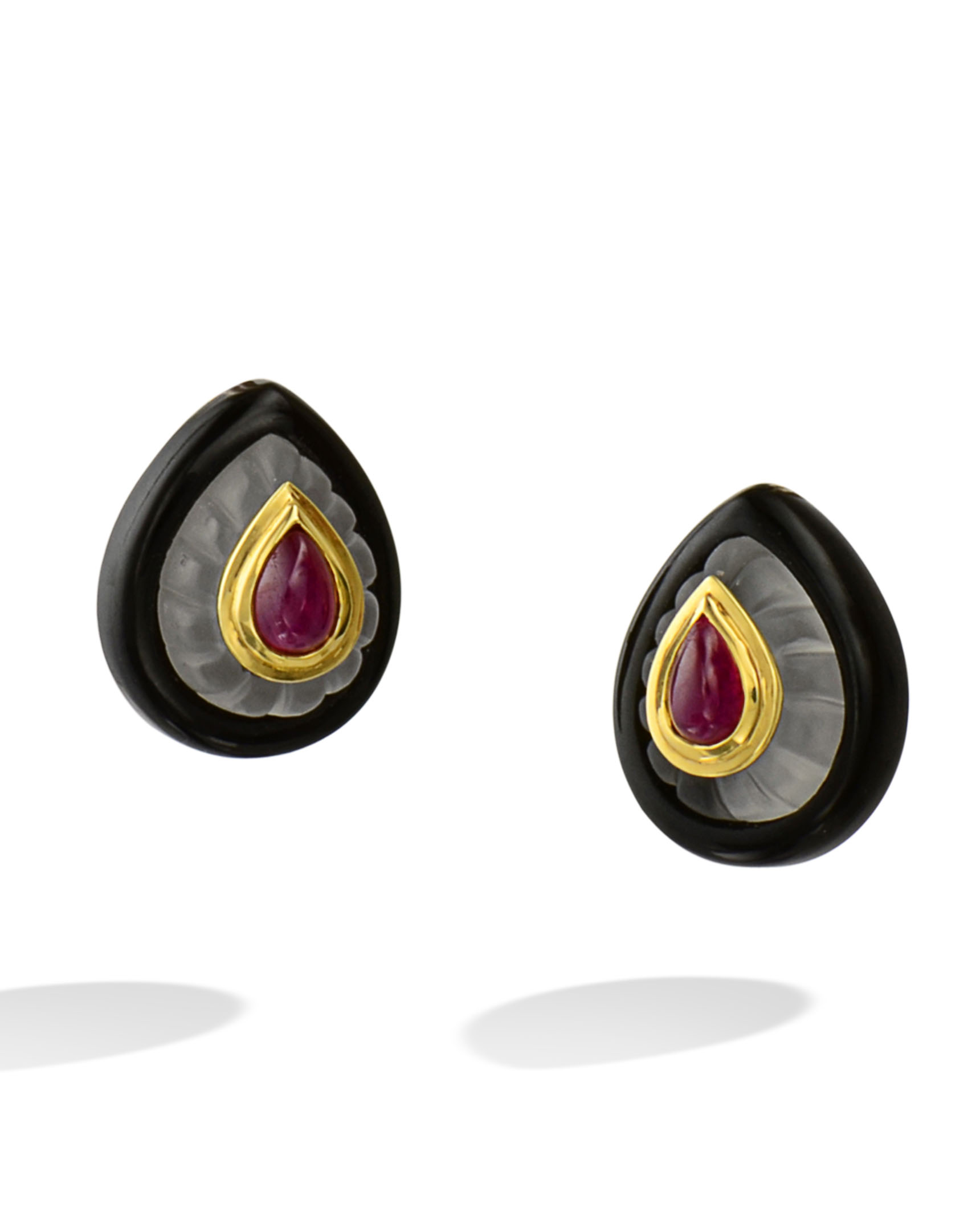 jewellery nigaam earrings white shape pear picture gold ruby of diamond and