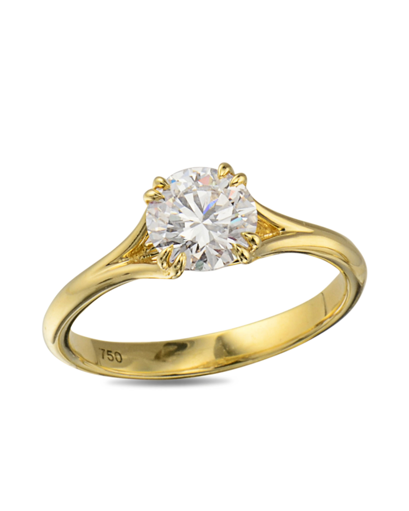 yellow gold ring princess w engagement center product cuts round and h rings