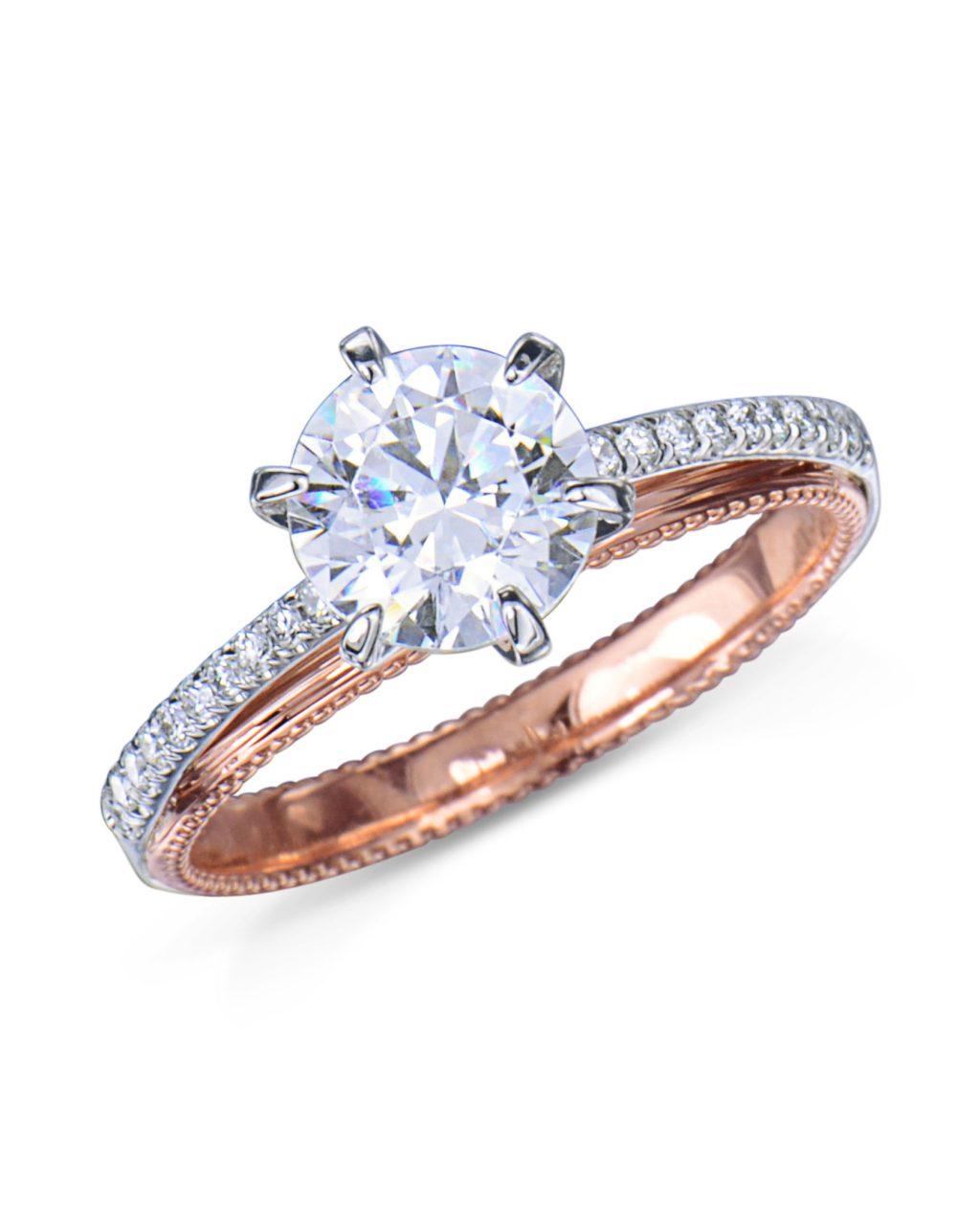Rose Gold And Platinum Diamond Engagement Ring