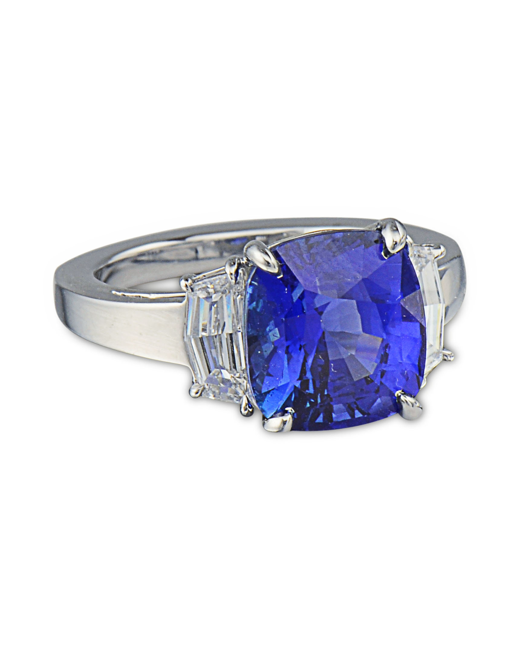 sapphire ring three burmese diamond natural and stone