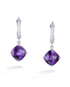 2058afdaf Amethyst and Diamond Drop Earrings
