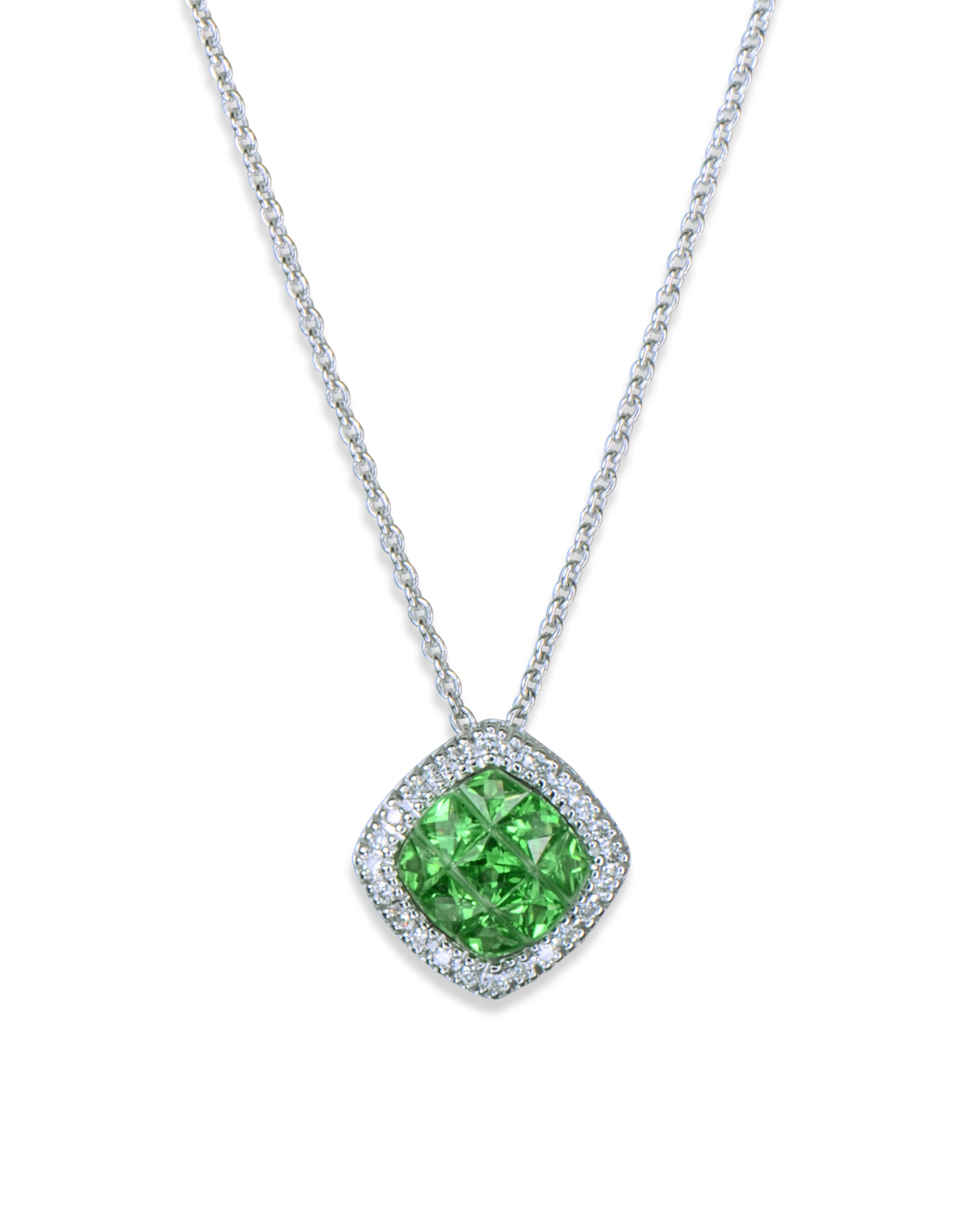 Cushion shaped tsavorite and diamond pendant turgeon raine cushion shaped tsavorite and diamond pendant aloadofball Gallery