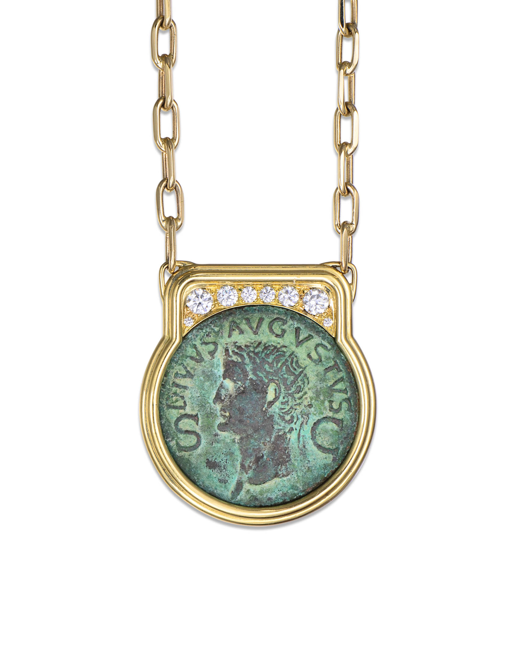 revoir gun necklace next bye fob products silver medallion charm biddy les roman au filles coin with statement design