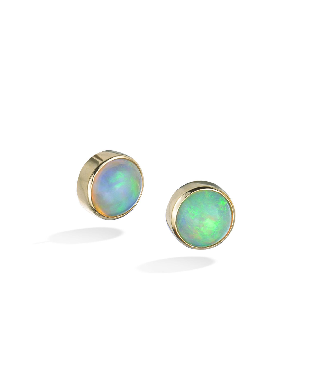 Cabochon Ethiopian Opal Stud Earrings