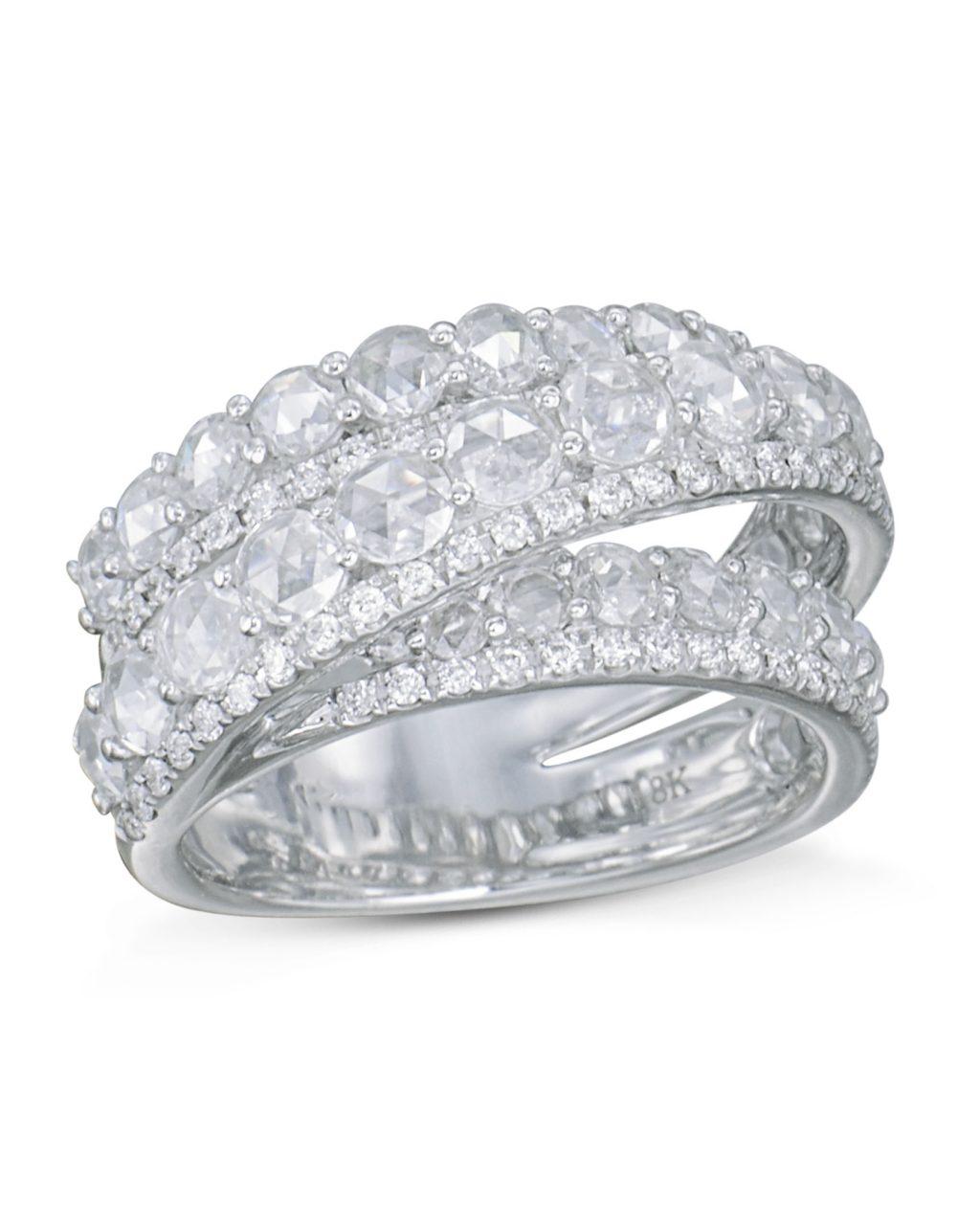 3 Strand Diamond and White Gold Ring - Turgeon Raine